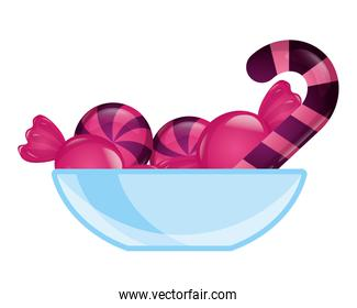 glass bowl with sweet candies confectionery