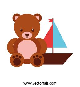bear teddy and boat toys kids