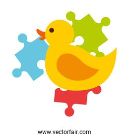 rubber duck and pieces puzzle jigsaw toys kids