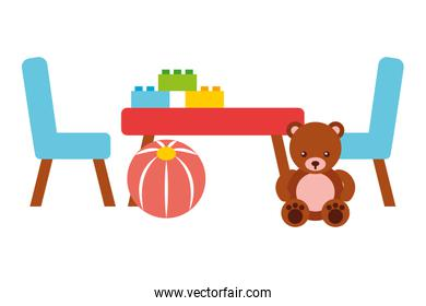 table and chairs ball blocks toys kids