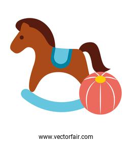rocking horse and plastic ball toys
