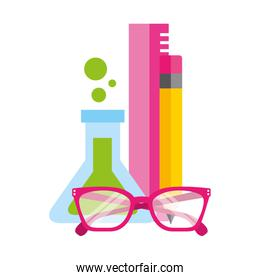 test tube chemistry glasses pencil and ruler supplies school