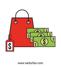 shopping bag and banknote money tag price supermarket