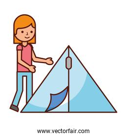 tourist woman and tent travel vacations
