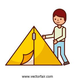 tourist man and tent travel vacations