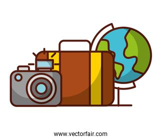world suitcase and camera travel vacations