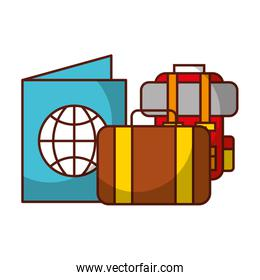 suitcase backpack passport travel vacations