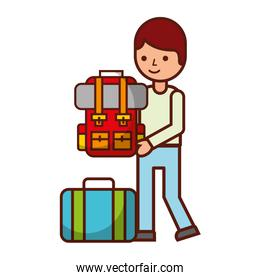 man holding backpack suitcase travel vacations