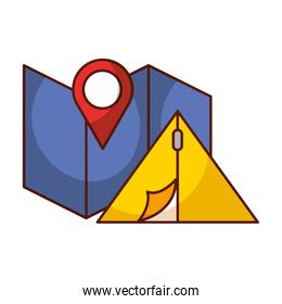 map location and tent camp travel vacations