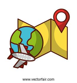 airplane world map location travel vacations