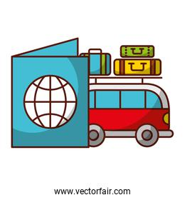 van car passport and luggage travel vacations