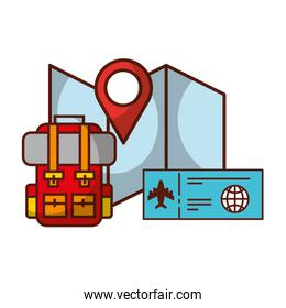 backpack and air ticket location map travel vacations