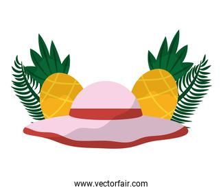 beach hat accessory pineapples tropical summer