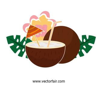 coconut cocktail with umbrella flower tropical summer