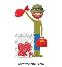 fisherman holding fish and basket filled fishes