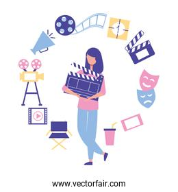 woman holding clapperboard production movie film