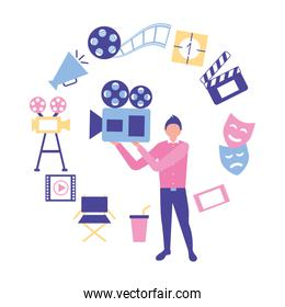 man holding projector production movie film