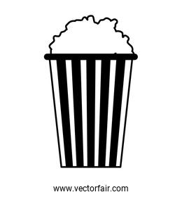 striped bucket with popcorn isolated design