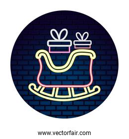 neon sled gifts box merry christmas