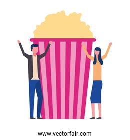 happy man and woman with cinema popcorn movie