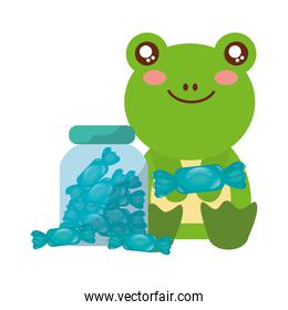 cute frog and jar sweet candy wrapper