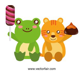 cute tiger and frog sweet candy chocolate