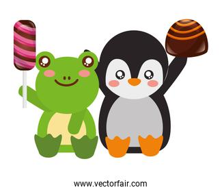 cute frog and penguin sweet candies