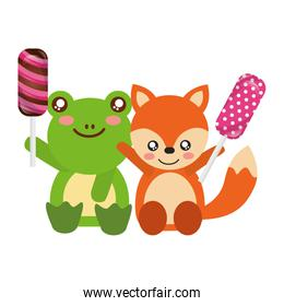 cute frog and fox sweet candies
