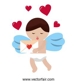 cute cupid holding mail message valentine