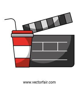 clapboard and soda cup cinema movie