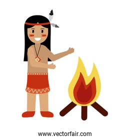 native american man character with bonfire
