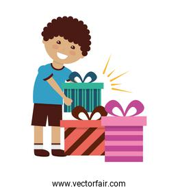 happy boy with gifts birthday