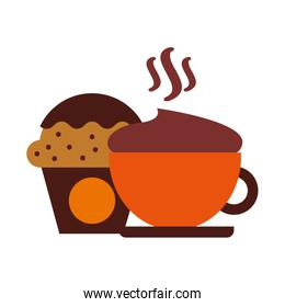 hot fresh coffee cup with cupcake