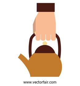 hand holding coffee kettle drink