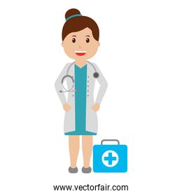 female doctor professional with kit first aid