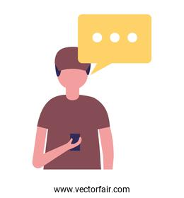 young man using cellphone with speech bubble