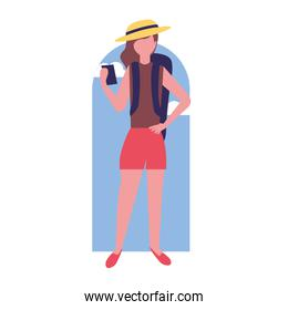 tourist woman with cellphone