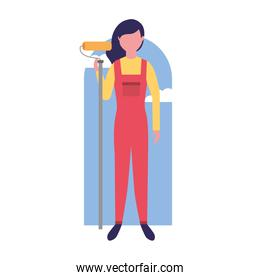 repair woman construction roller painting