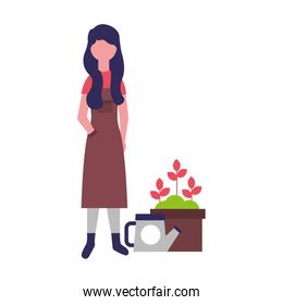 gardener woman with watering can potted flowers