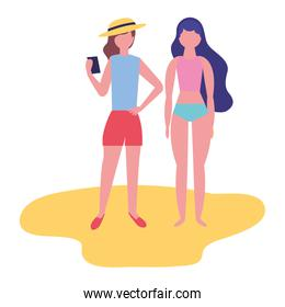 tourist women in the beach with cellphone