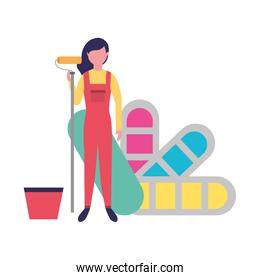 woman roller painting and bucket palette color