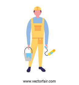 repair man holding bucket and roller paint
