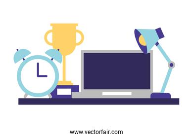 office laptop lamp clock and trophy