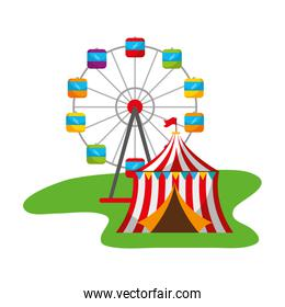 ferris wheel and tent carnival fun fair