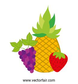 pineapple strawberry and grapes fresh nature
