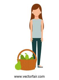 woman with basket filled pear