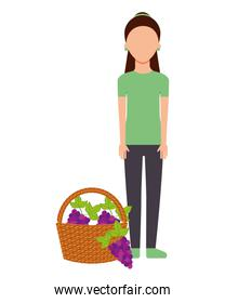 woman with basket filled grapes