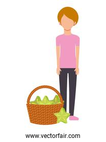 woman with basket filled carambola