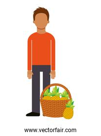 man with basket filled pineapple