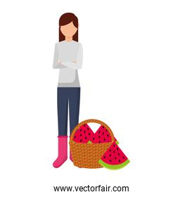 woman with basket filled watermelon
